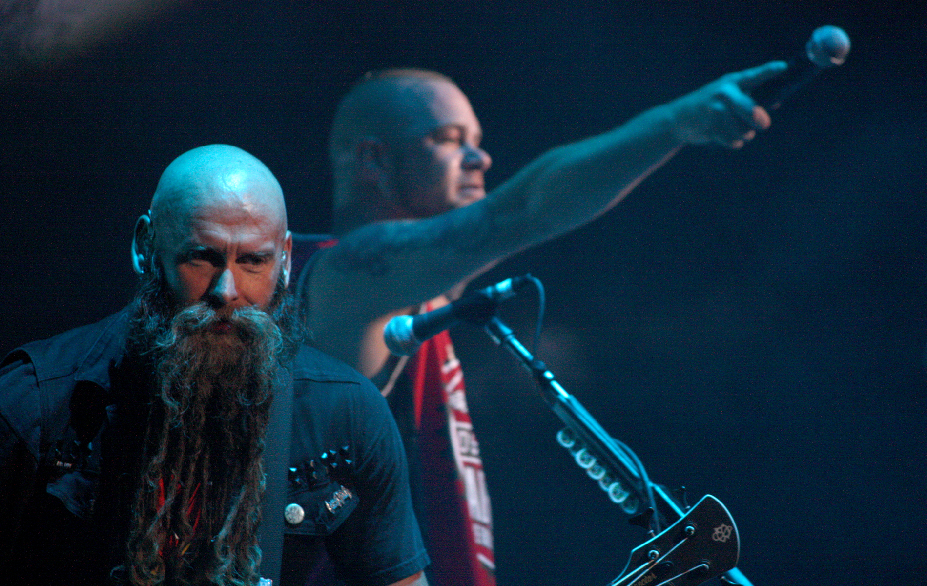 Chris Kael (left) and Ivan Moody of Five Finger Death Punch