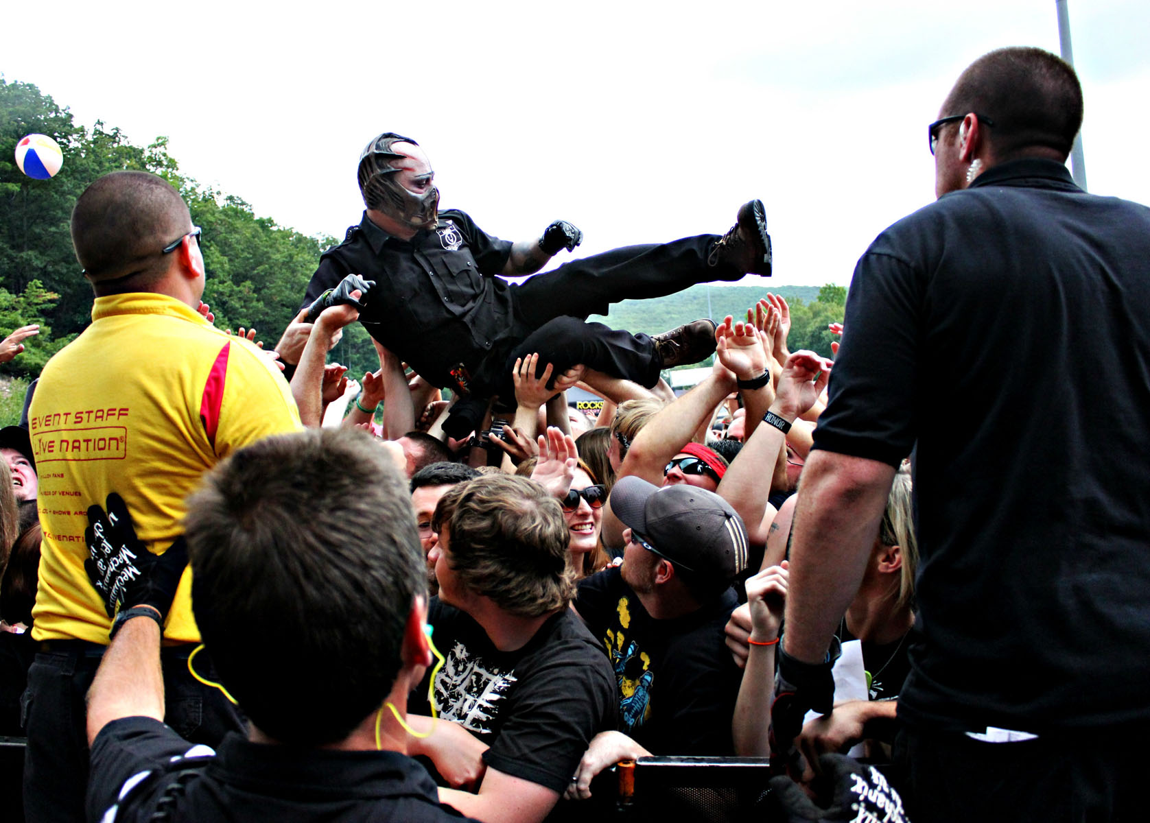 Waylon Reavis of Mushroomhead crowdsurfing